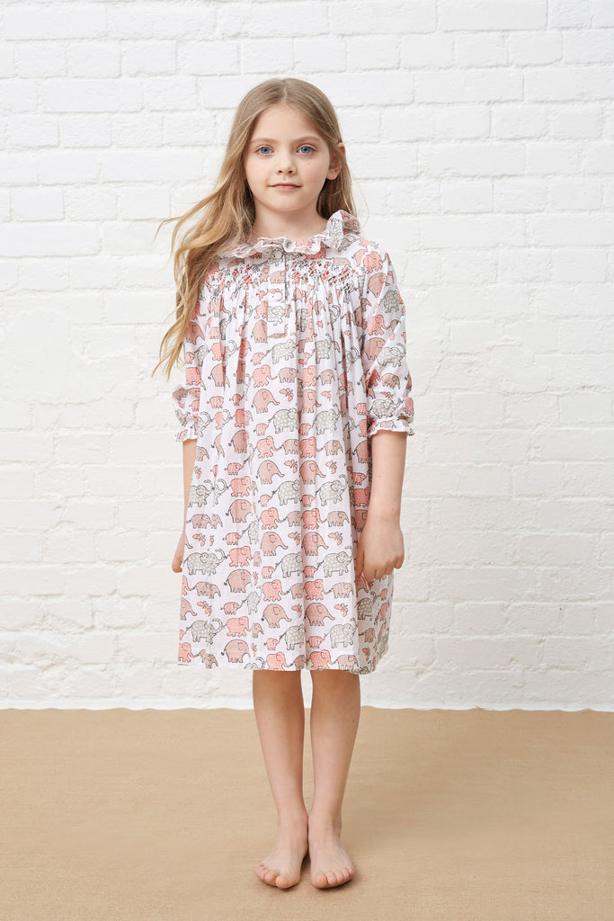 LITTLE NIGHT DRESS - PINK & GREY ELEPHANTS