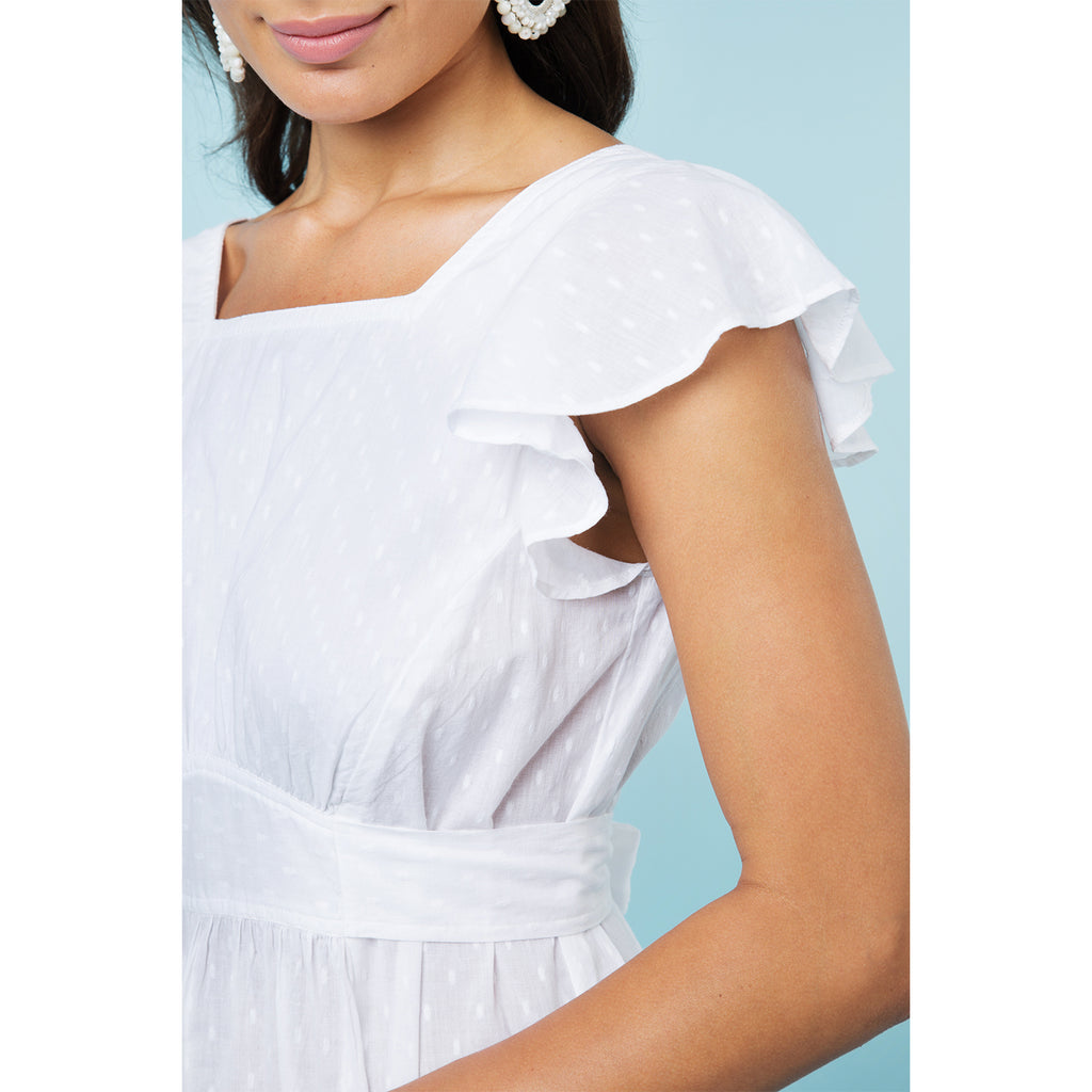 MILLIE ENDLESS SUMMER WHITE MIDI DRESS