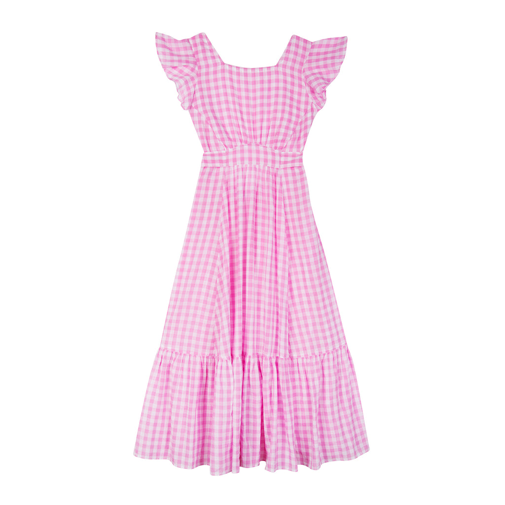 ENDLESS SUMMER PINK GINGHAM MIDI DRESS