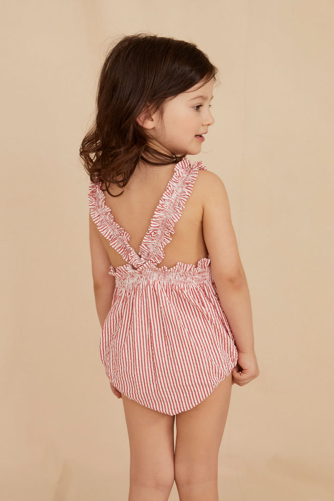 THE LITTLE FRILLY ROMPER | Red & White Striped Seersucker