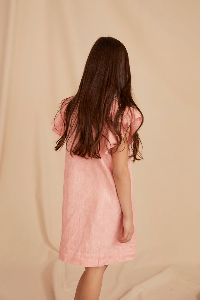 THE LITTLE CAPRI DRESS | Coral Linen Chambray