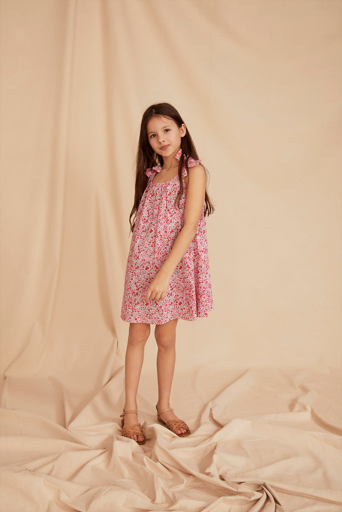 THE LITTLE SUNDRESS WITH BOWS | Tiny Pink Flower
