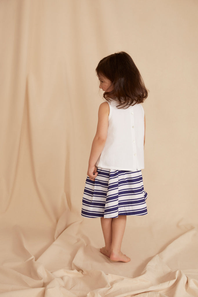 THE LITTLE GATHERED SKIRT | Blue & White Stripe