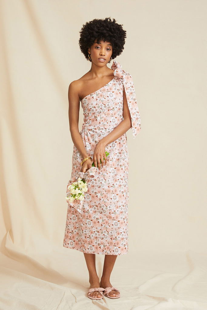 THE MIDI ONE SHOULDER DRESS | Pink Floral. IN COLLABORATION WITH AMANDA WOODWARD-BROWN