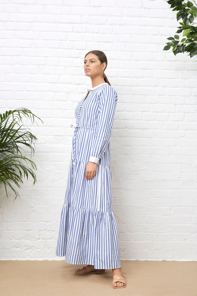 MAXI SHIRT DRESS - BLUE & WHITE STRIPE