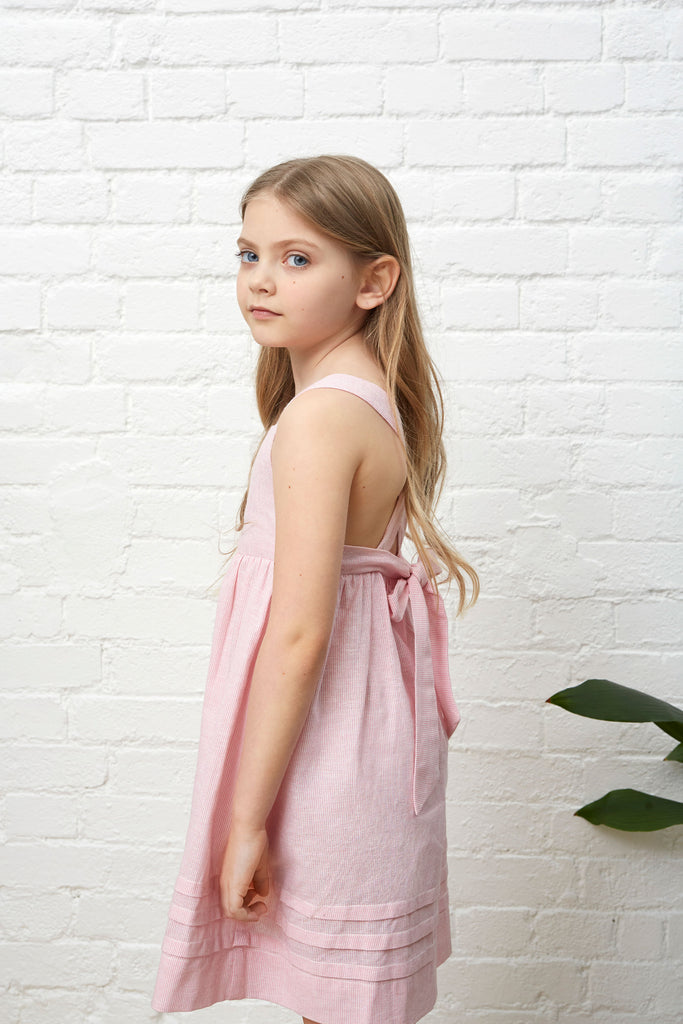 LITTLE DORA SUNDRESS - PINK & WHITE PINSTRIPE