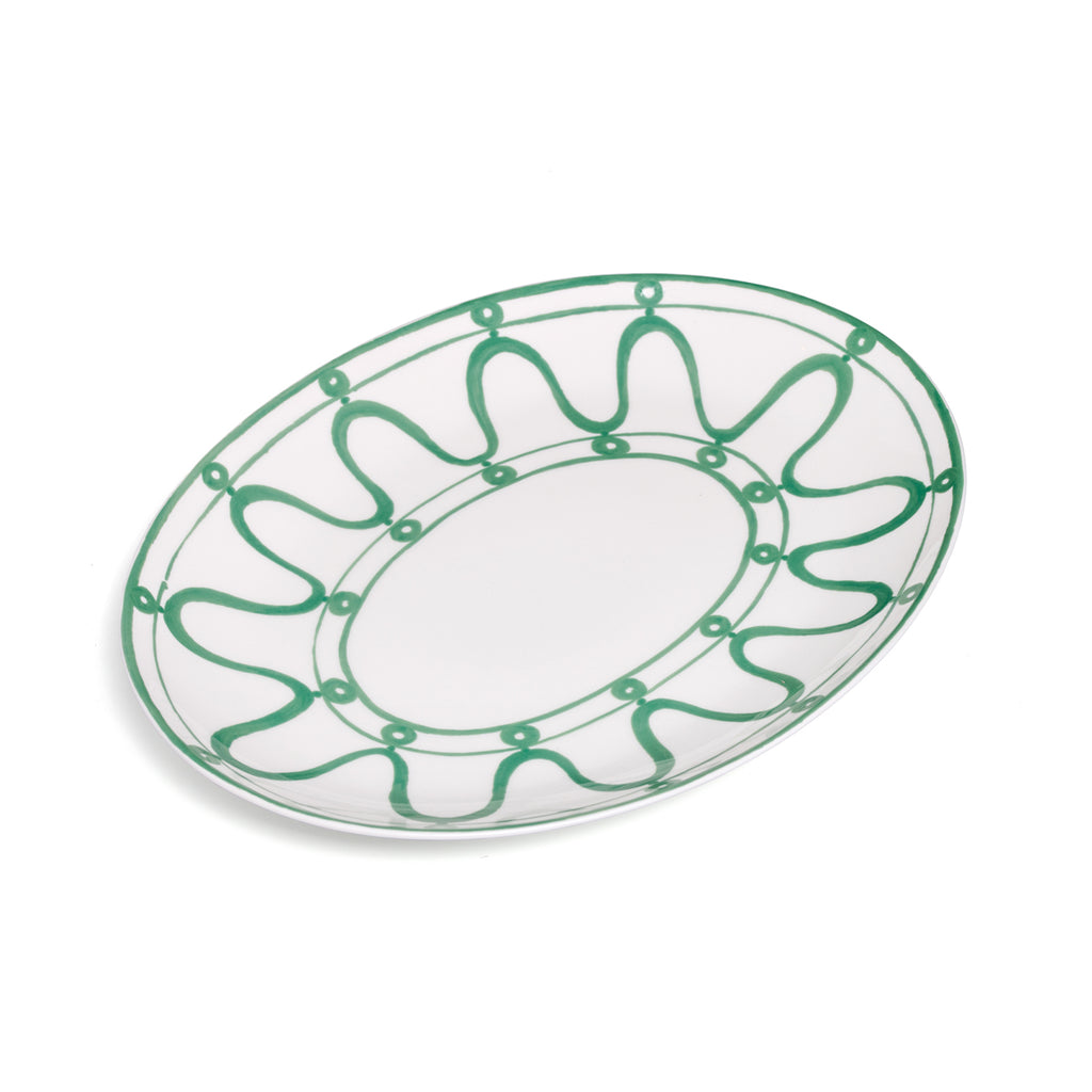 THEMIS Z - Serenity Porcelain Platter Green on White