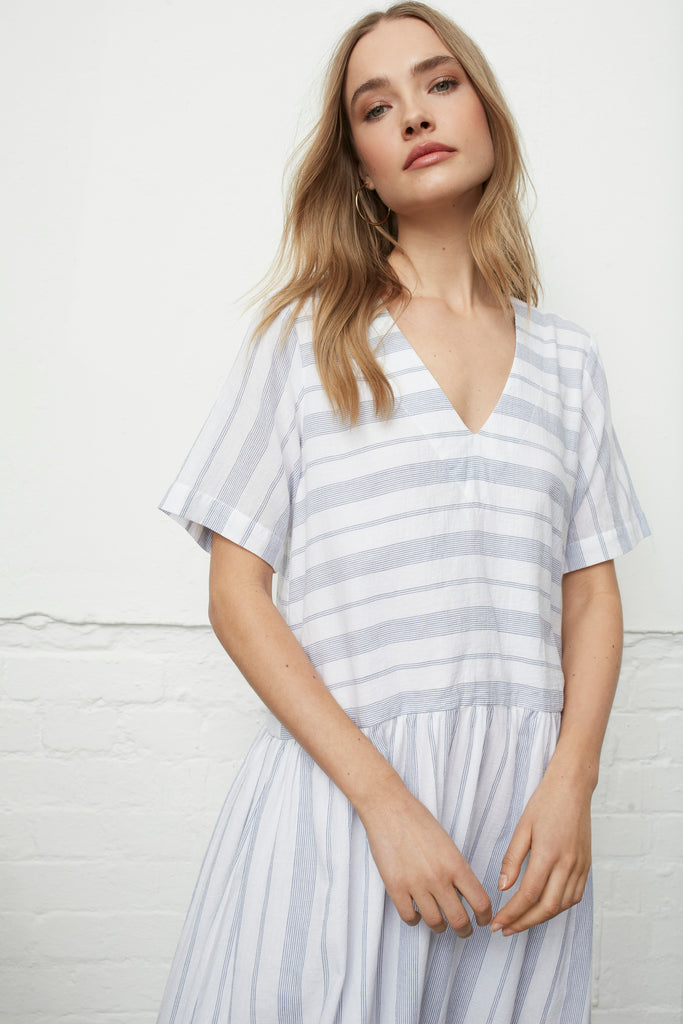SHORE DRESS - Oxford Blue Stripe