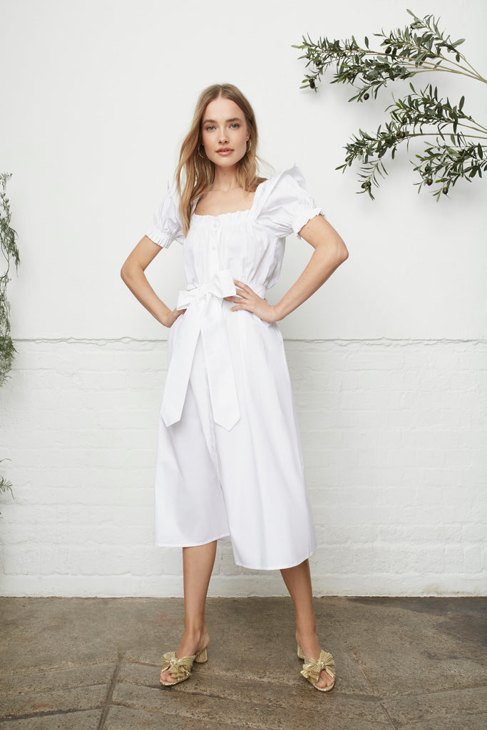 PALM BEACH SUNDRESS - WHITE COTTON POPLIN