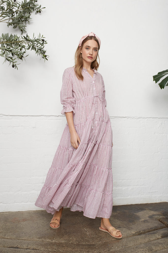 RUFFLE MAXI DRESS - PINK STRIPE