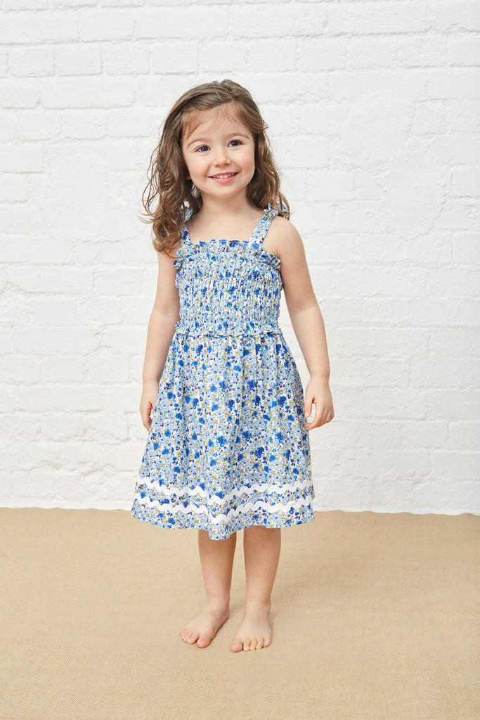 LITTLE SMOCKED DRESS - SHADES OF FLORAL BLUE