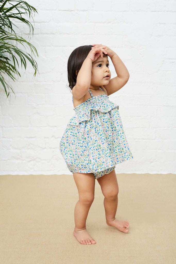 FRILLED SMOCKED TOP & BLOOMERS SET - PINK & BLUE FLORAL SPRAY