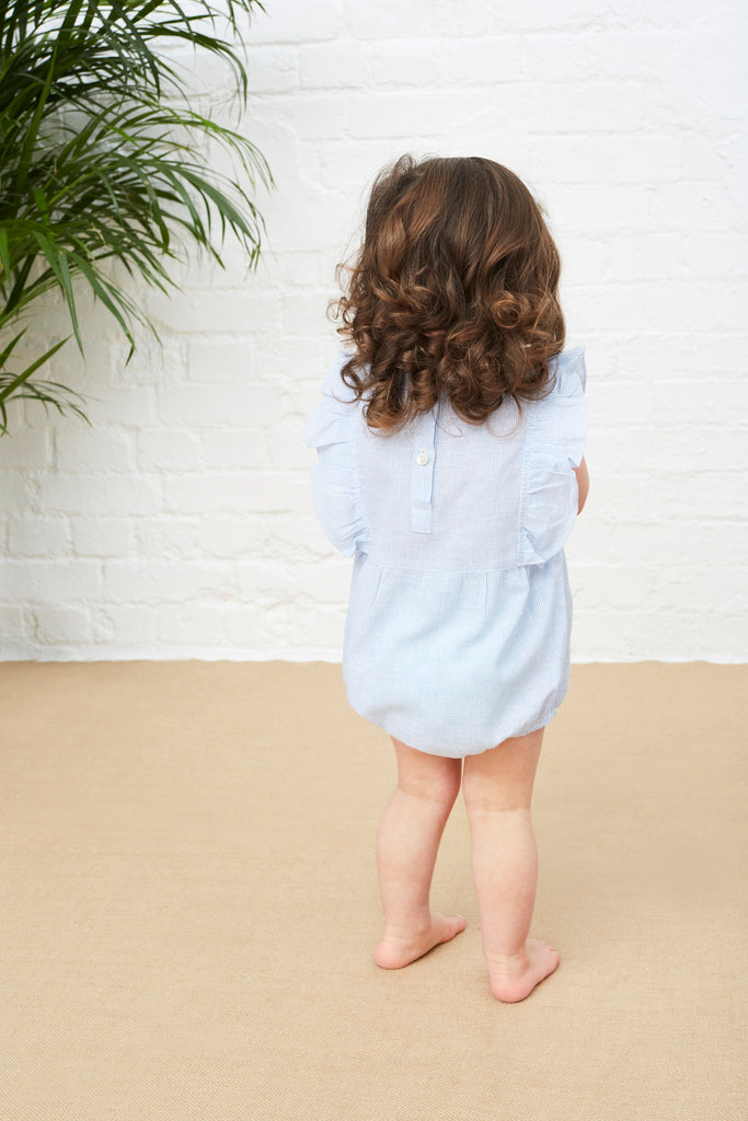 LITTLE FRILLY ROMPER - PINSTRIPE