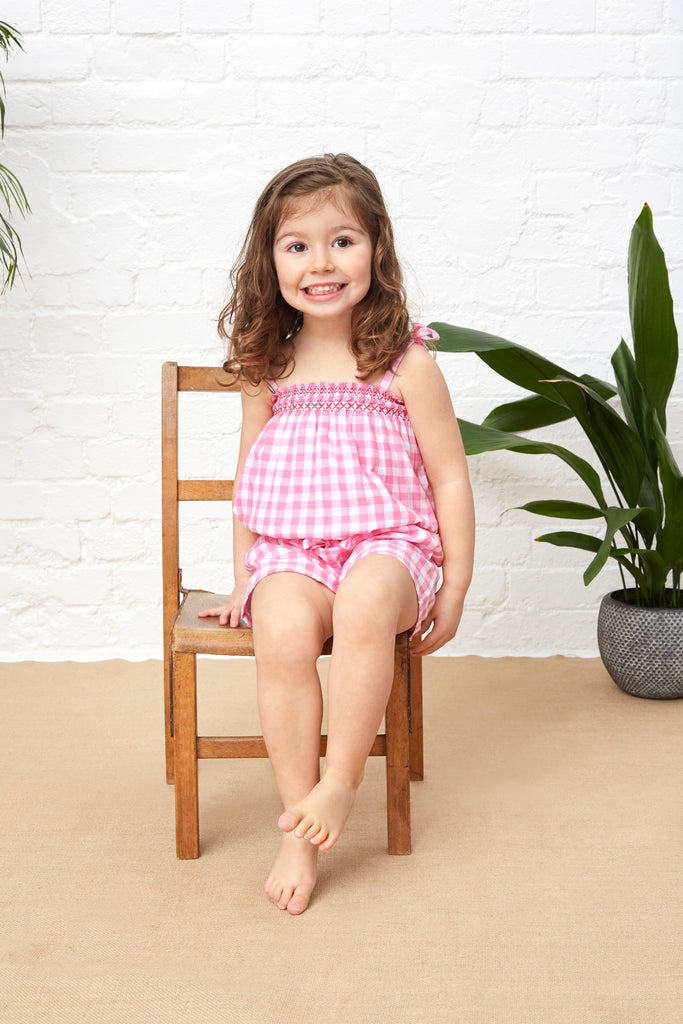 PLAYSUIT - PINK GINGHAM