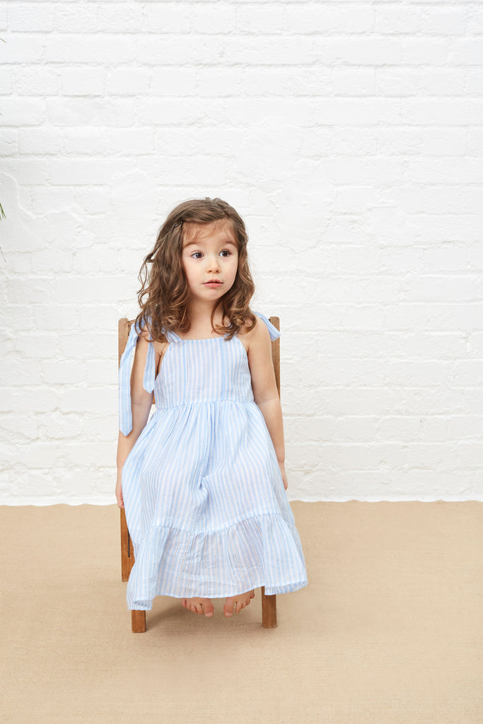 LITTLE MOLLY SUNDRESS - PALE BLUE & WHITE STRIPE