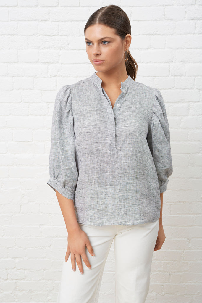 PUFF SLEEVE BLOUSE - CHARCOAL LINEN CHAMBRAY