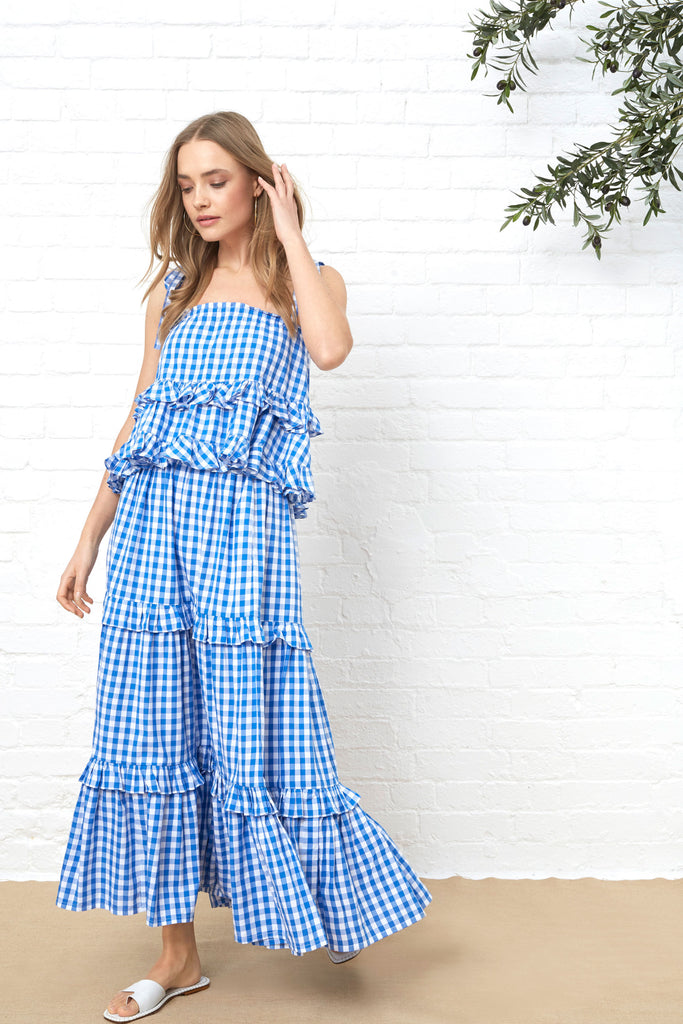 FRILL CAMI - BLUE GINGHAM