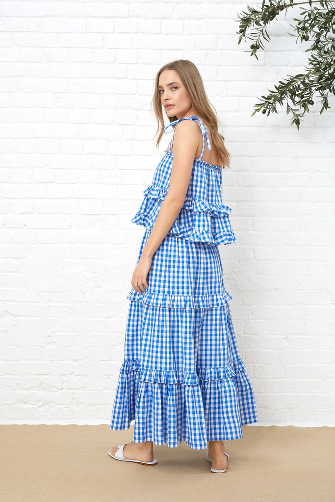 FRILL MAXI SKIRT - BLUE GINGHAM