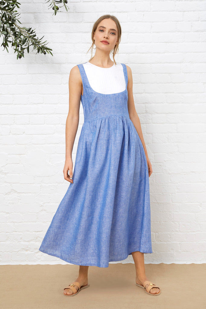 ST TROPEZ DRESS - Blue Chambray