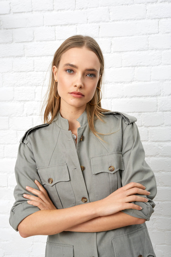 SAFARI STYLE JACKET - SAGE GREEN