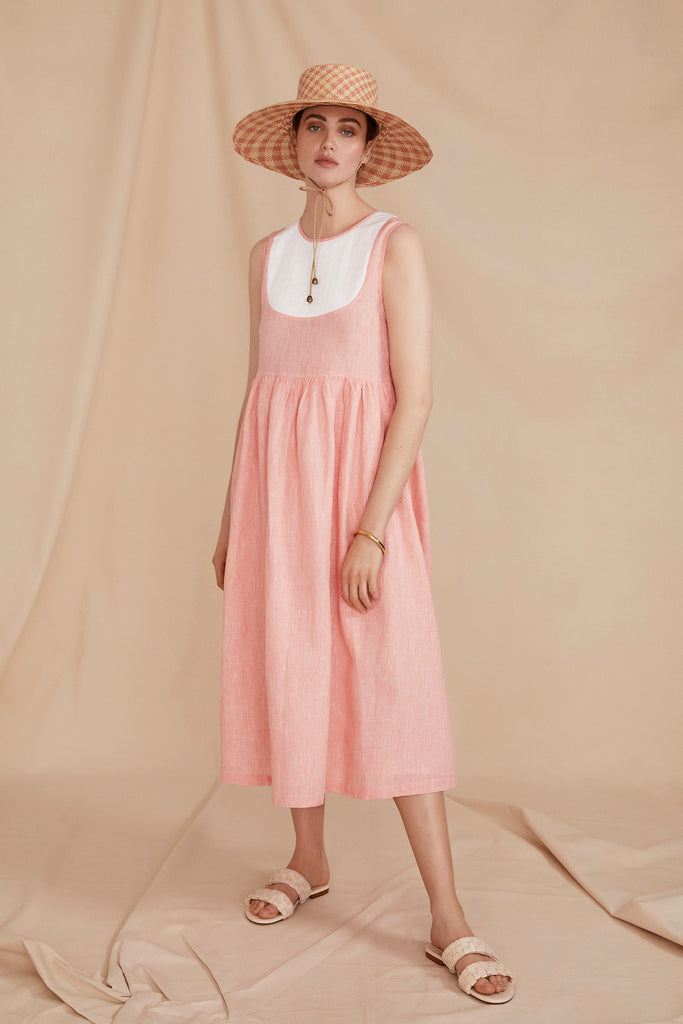 THE CAPRI DRESS | Coral Linen Chambray