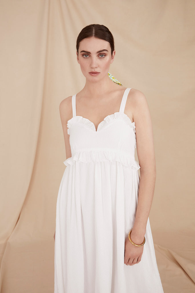 THE STRAPPY MAXI DRESS | White Cotton Seersucker