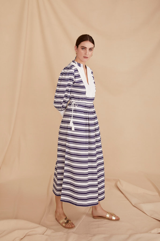 THE SCALLOP BIB DRESS | Blue & White Stripe