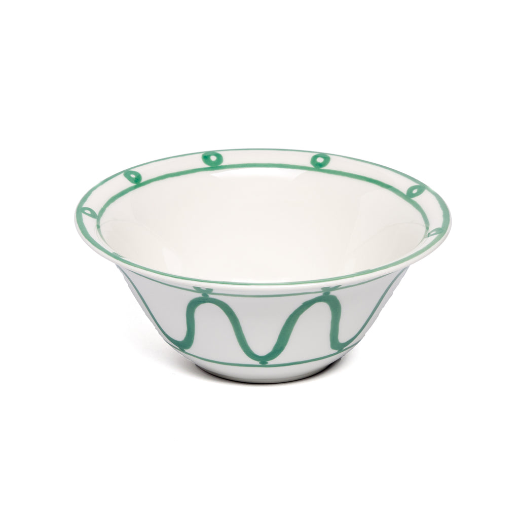 THEMIS Z - Serenity Porcelain Salad Bowl Green on White