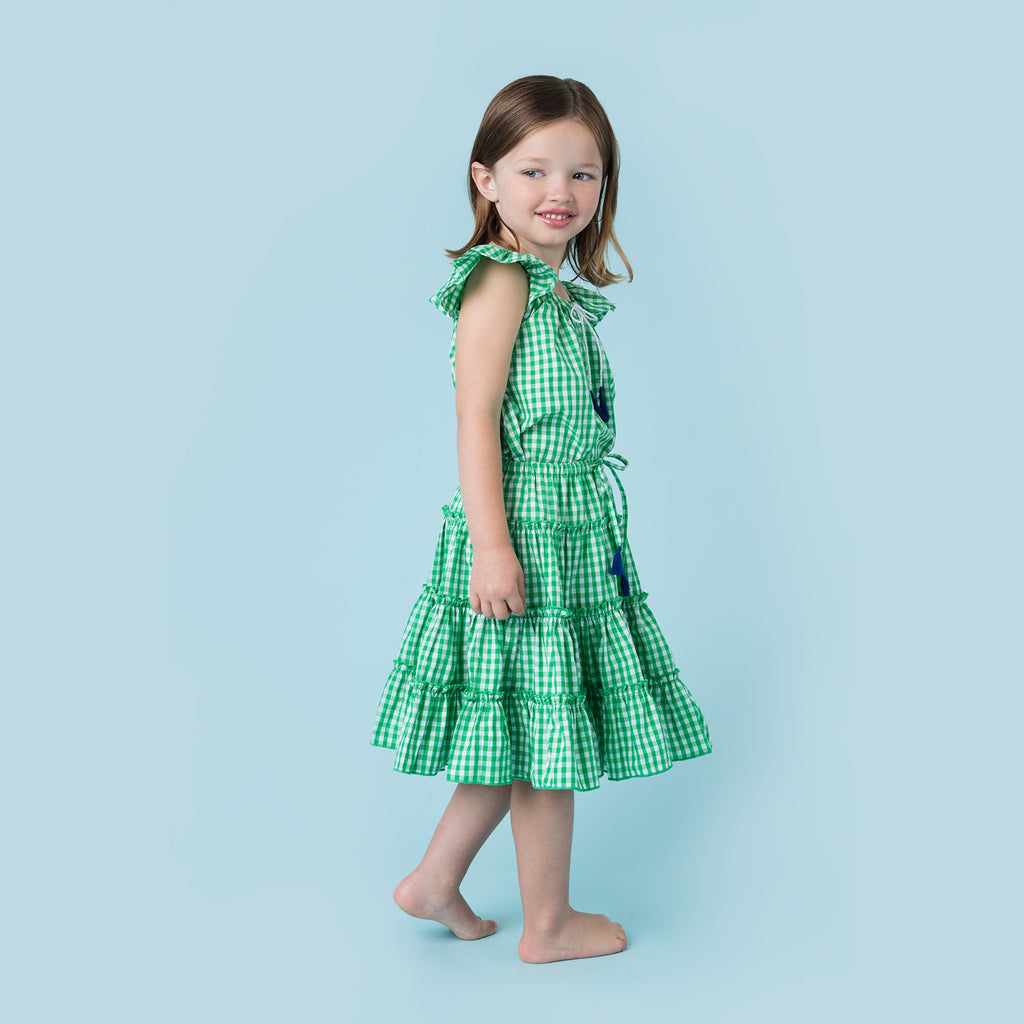 LITTLE TIERED SKIRT GREEN CHECK GINGHAM