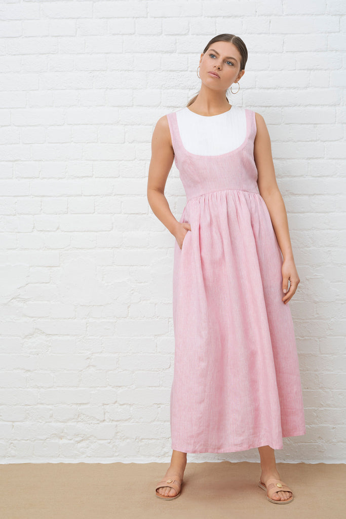 ST TROPEZ DRESS - Pink Chambray