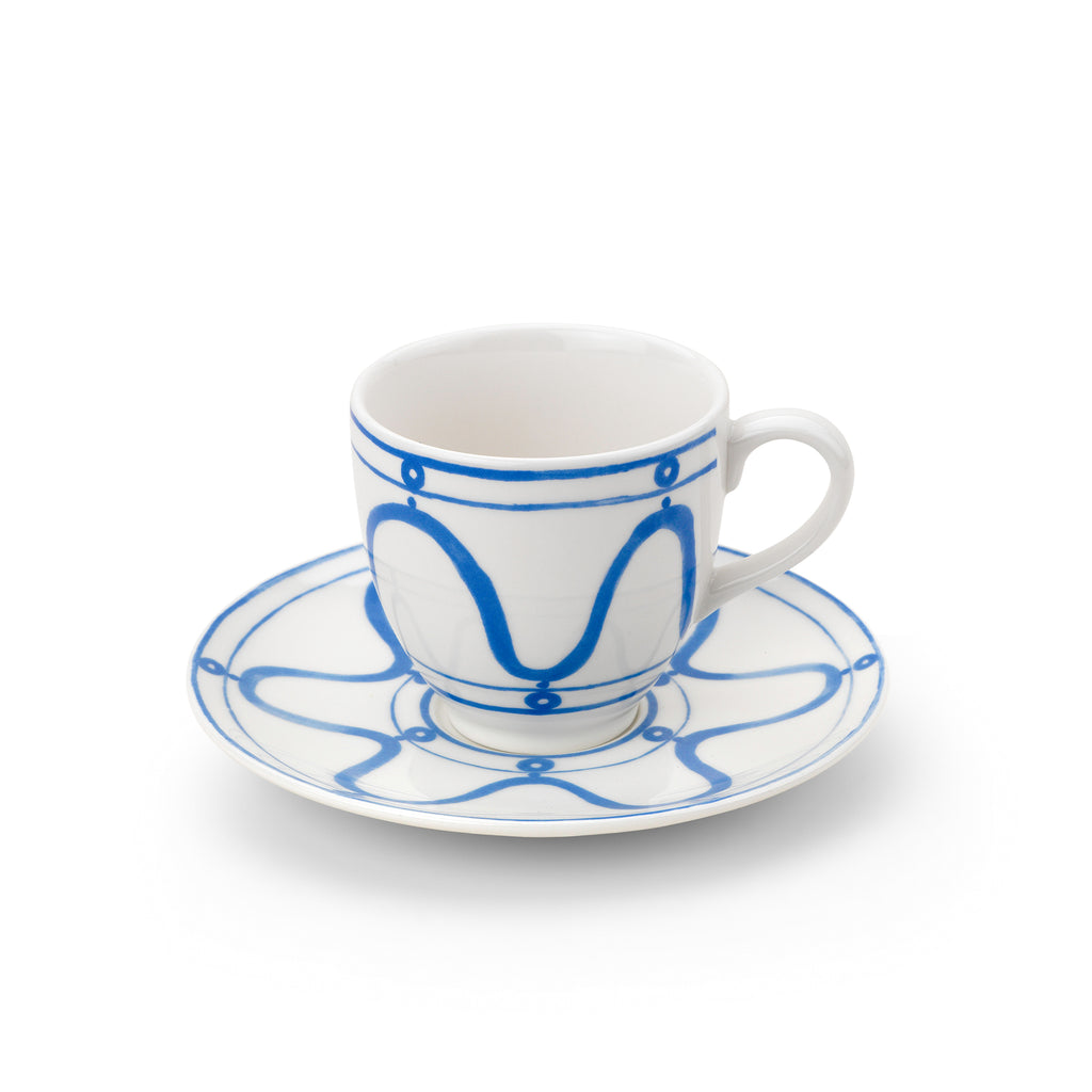 THEMIS Z - Serenity Porcelain Teacup & Saucer Blue on White