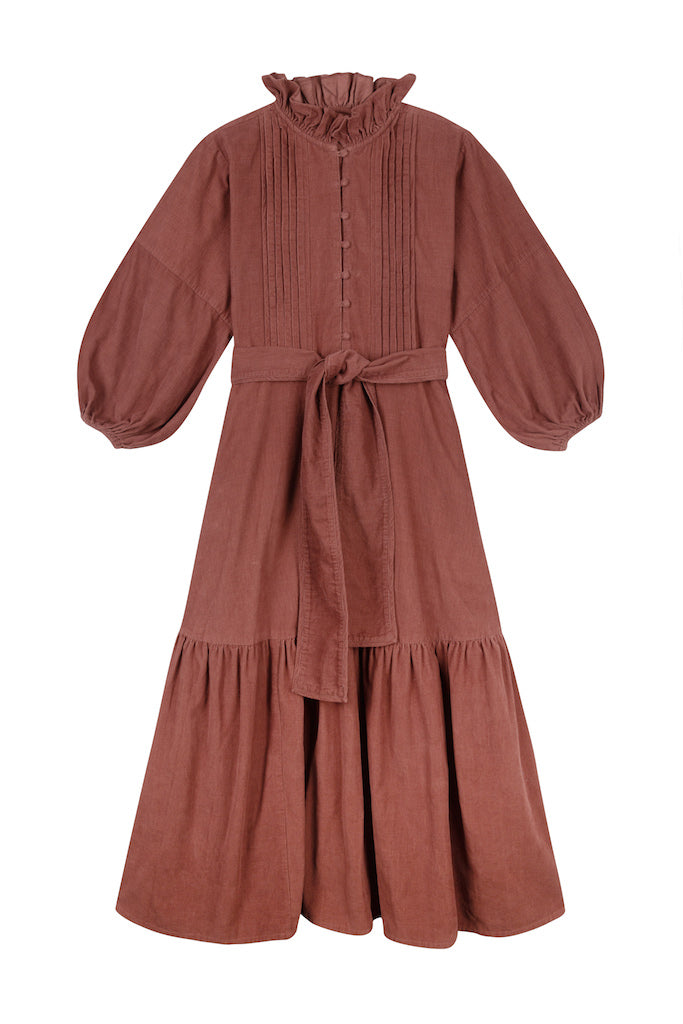 THE FLOUNCE DRESS | Cognac Brown Baby Thin Corduroy