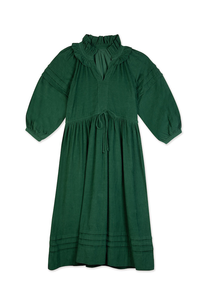 THE PLEAT DRESS | Fern Green Baby Thin Corduroy