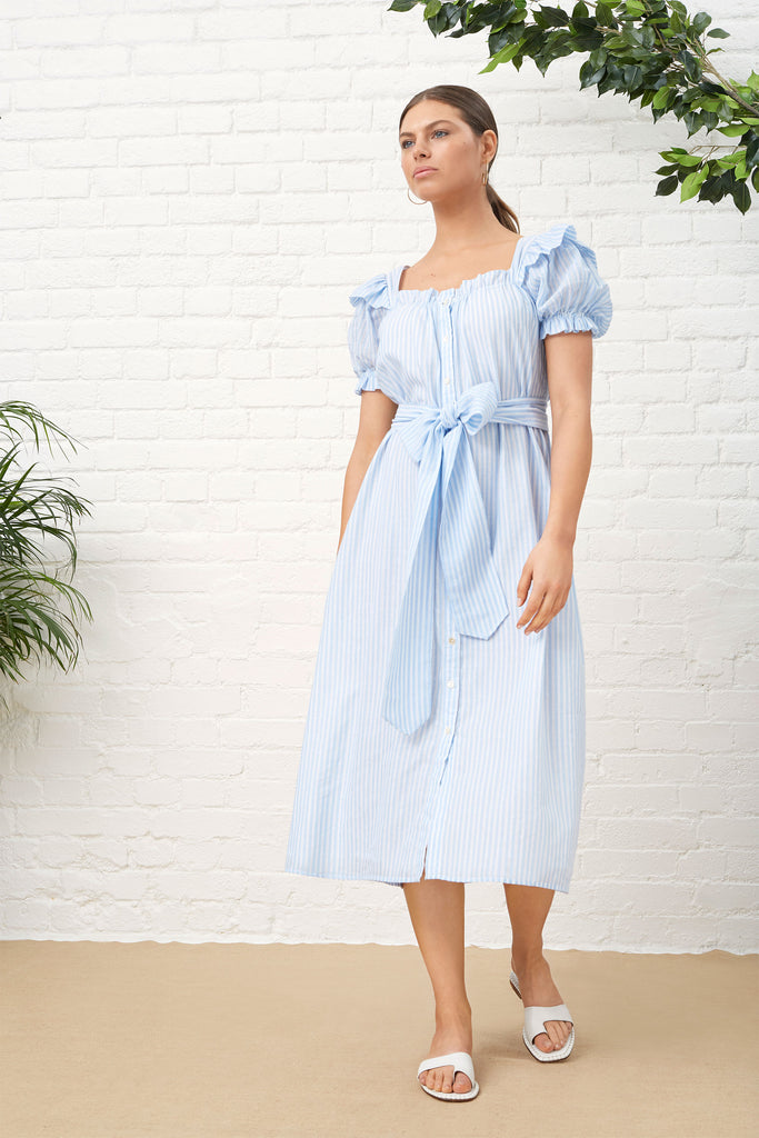 PALM BEACH SUNDRESS - PALE BLUE & WHITE STRIPE