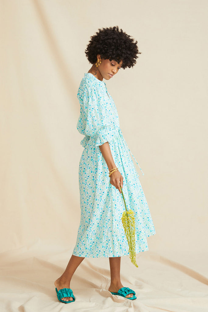 THE HONEYCOMB DRESS | Blue & Green Floral - PRE ORDER
