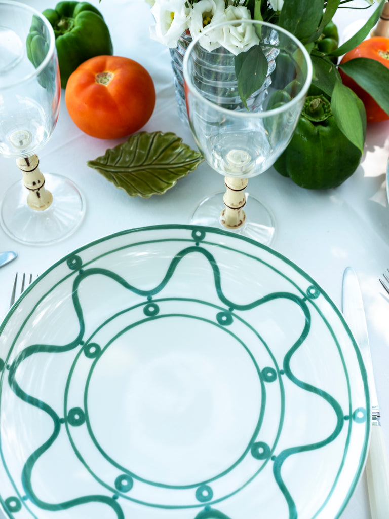 THEMIS Z - Serenity Porcelain Dinner Plate Green on White