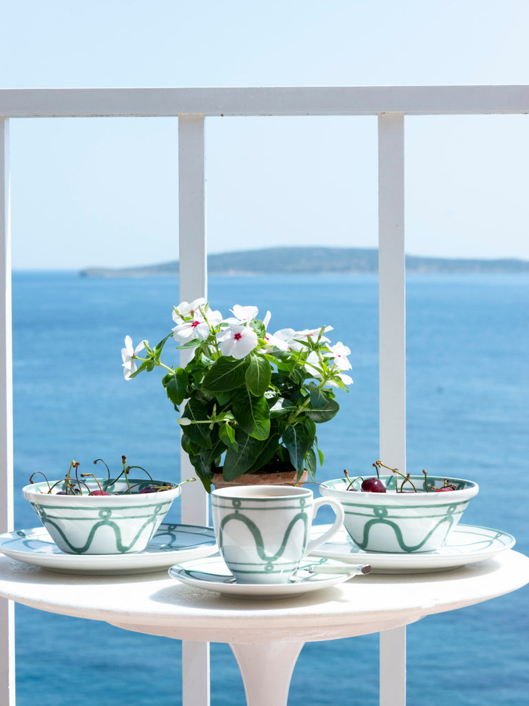 THEMIS Z - Serenity Porcelain Teacup & Saucer Green on White