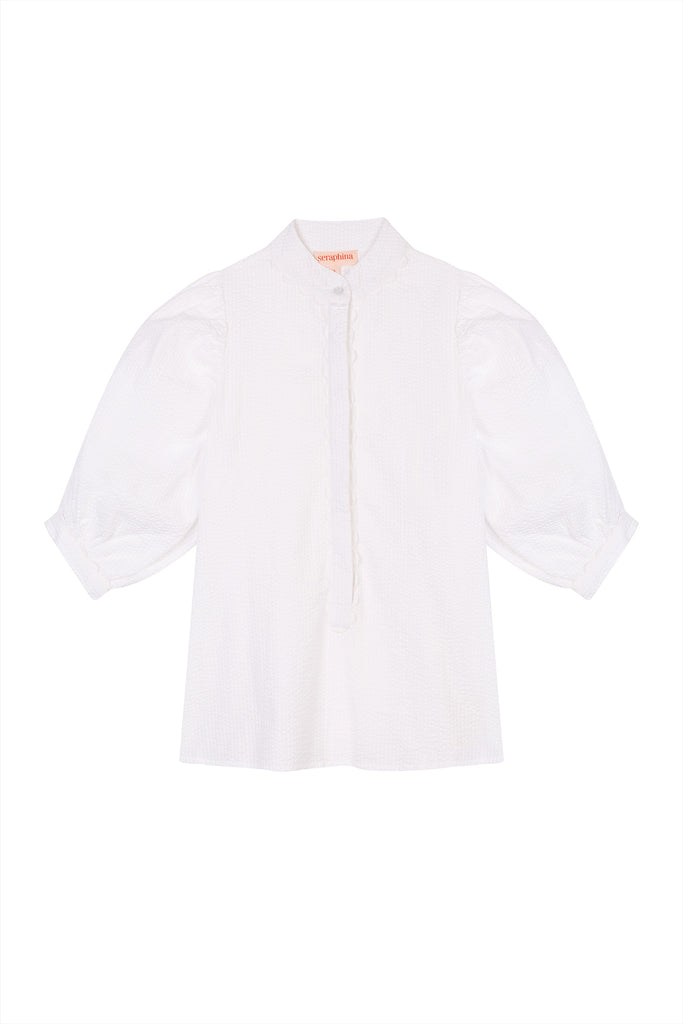 THE PUFF SLEEVE BLOUSE | White Seersucker PRE-ORDER