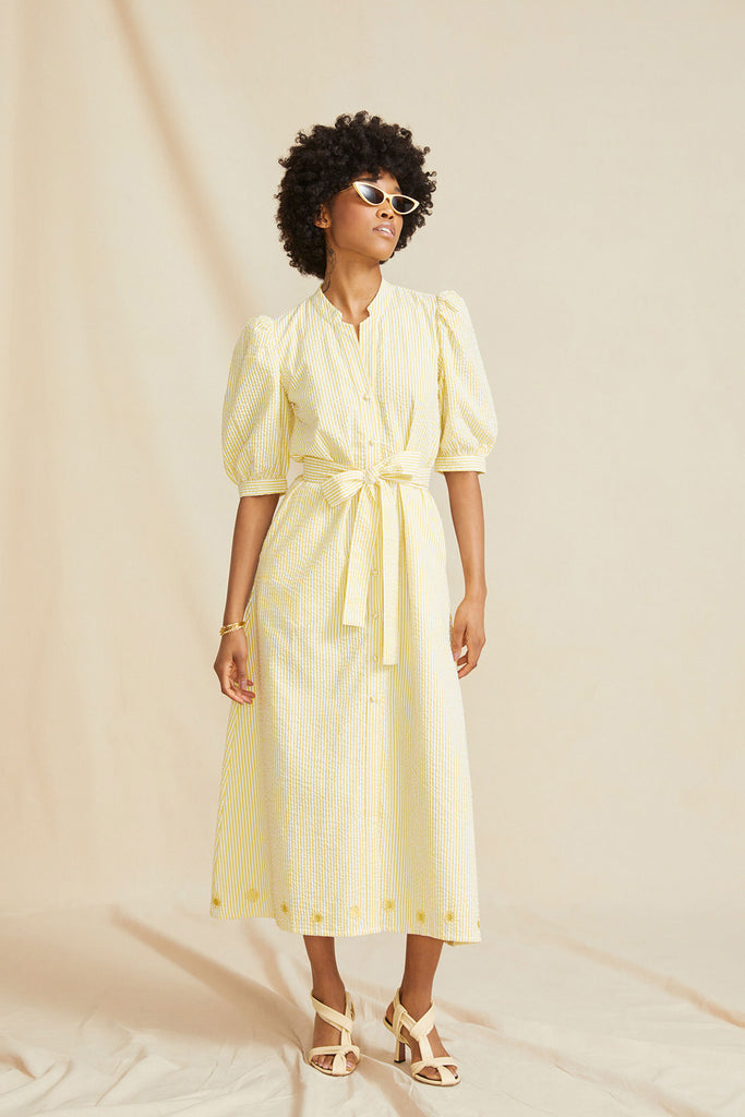 THE SUNSHINE DRESS | Yellow & White Striped Seersucker | In collaboration with The Daily Dress Edit