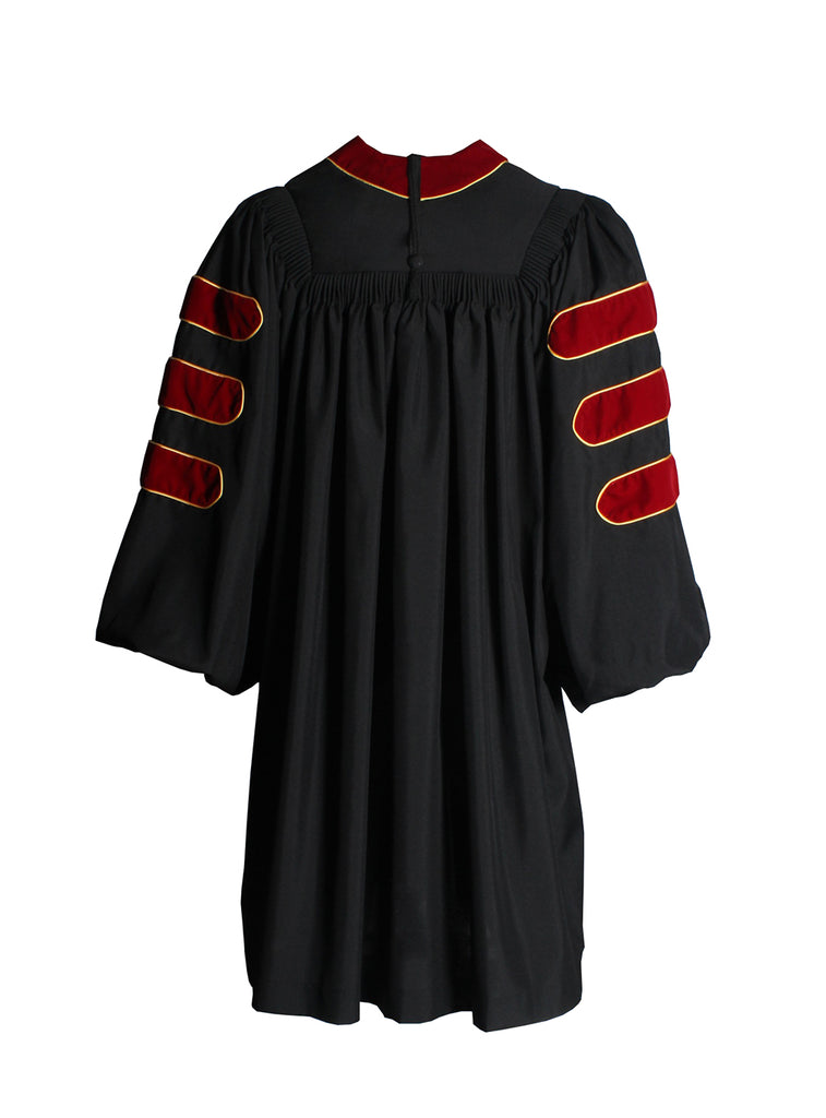 Deluxe Scarlet Doctoral Gown with Gold Piping