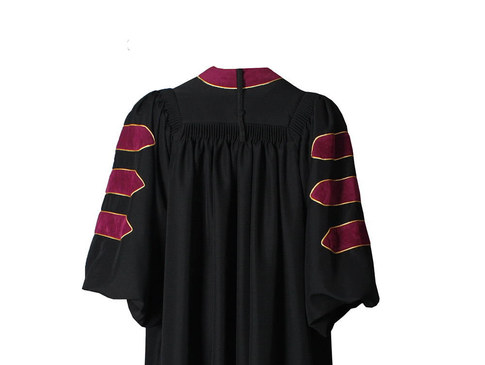 Deluxe Maroon Doctoral Gown with Gold Piping