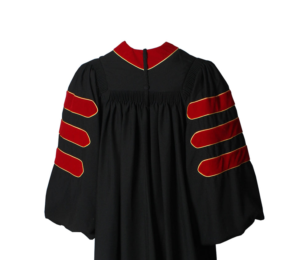 Deluxe Red Doctoral Gown with Gold Piping