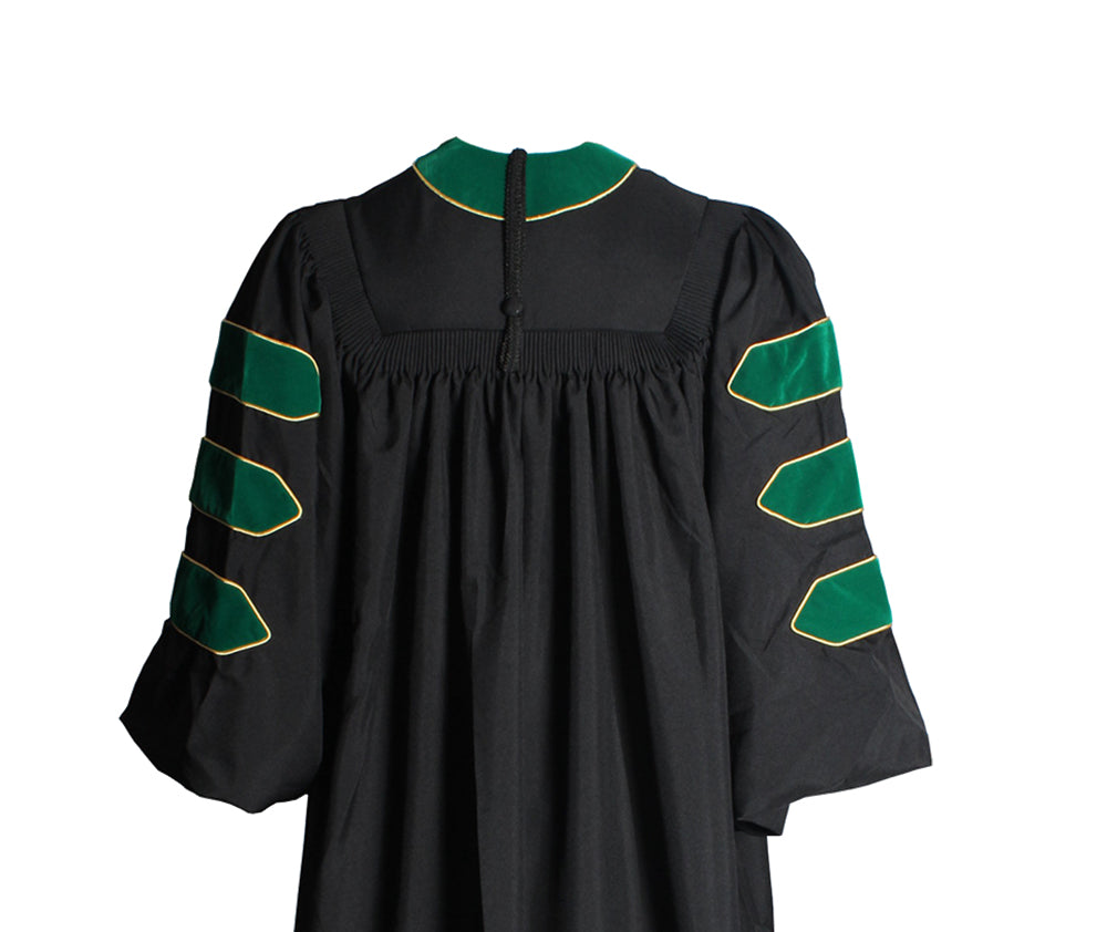 Deluxe Emerald Green Doctoral Gown with Gold Piping