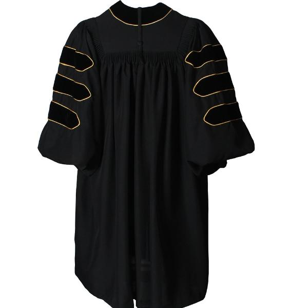 Deluxe Black Doctoral Gown with Gold Piping