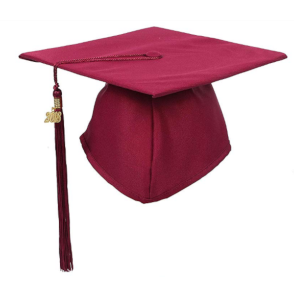 Matte Maroon Graduation Cap and Tassel