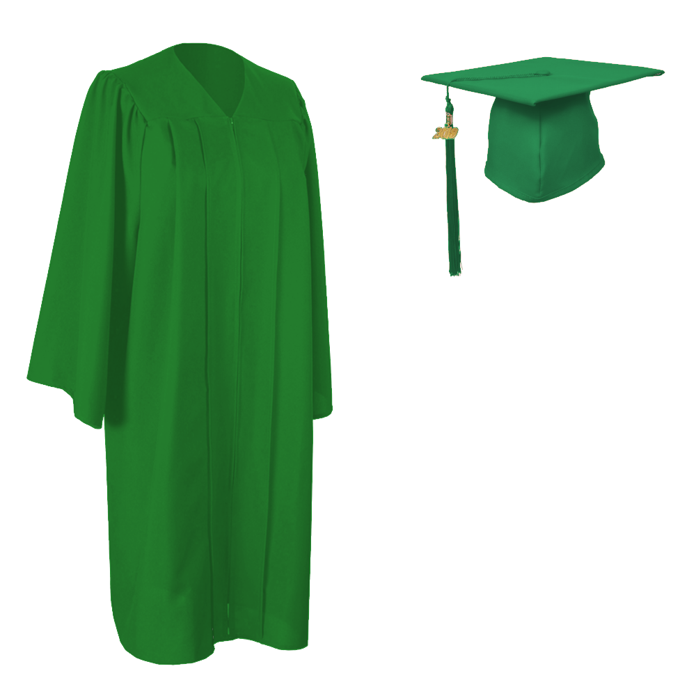 Matte Kelly Green Cap, Gown and Tassel