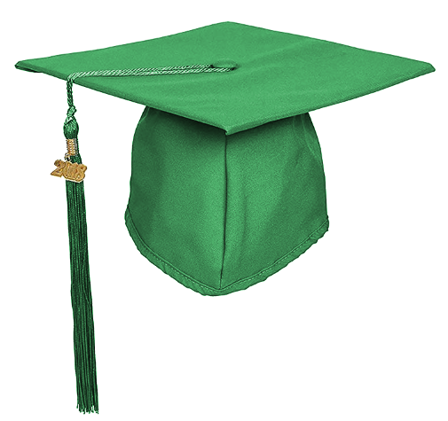 Matte Kelly Green Graduation Cap and Tassel