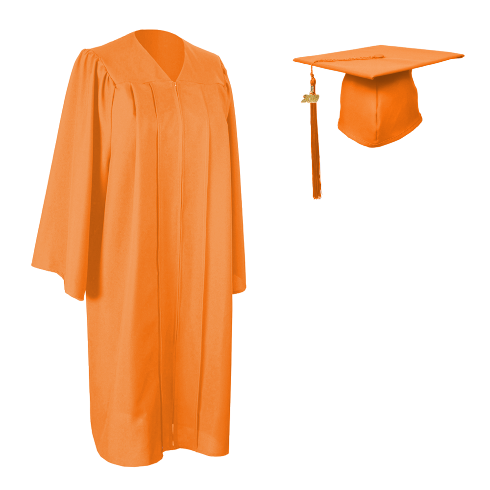 Matte Orange Cap, Gown and Tassel