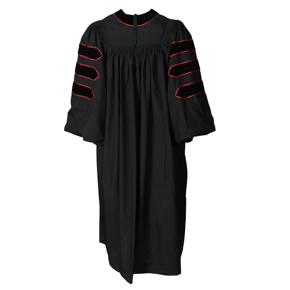 Deluxe Black Doctoral Gown with Red Piping