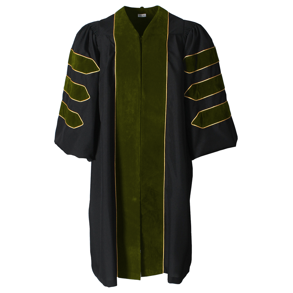 Deluxe Sage Olive Green Doctoral Gown with Gold Piping